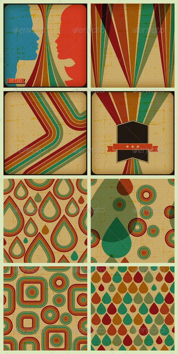 GraphicRiver Retro Posters and Seamless Patterns 4628747