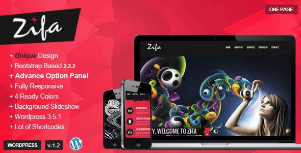 ThemeForest Zifa Responsive Wordpress OnePage Theme 4558654