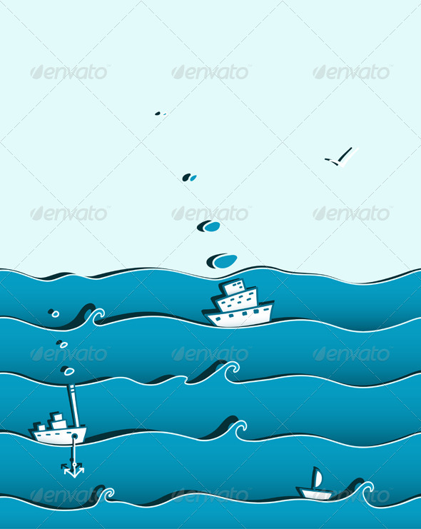 GraphicRiver Ocean or Sea Background with Ships 4628893