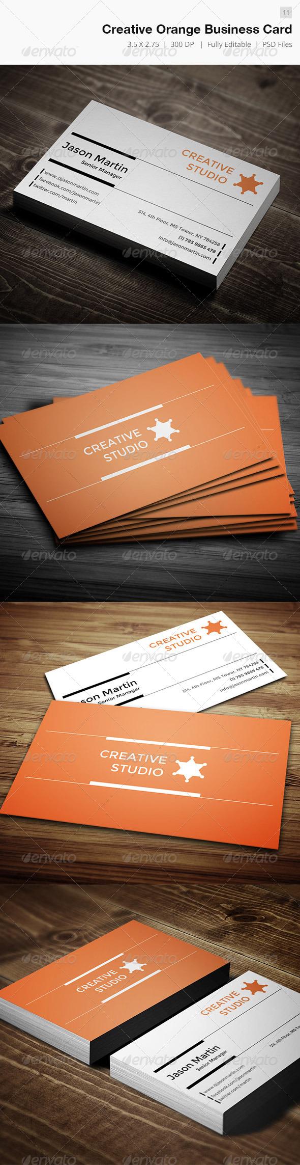 GraphicRiver Creative Orange Business Card 4558763