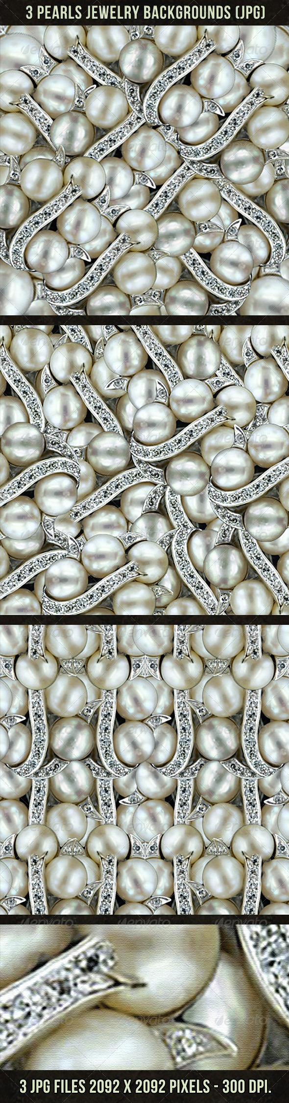 3 Pearls Jewelry Backgrounds - Backgrounds Decorative