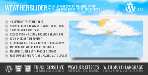 WeatherSlider WP - jQuery anim. WordPress widget - CodeCanyon Item for Sale