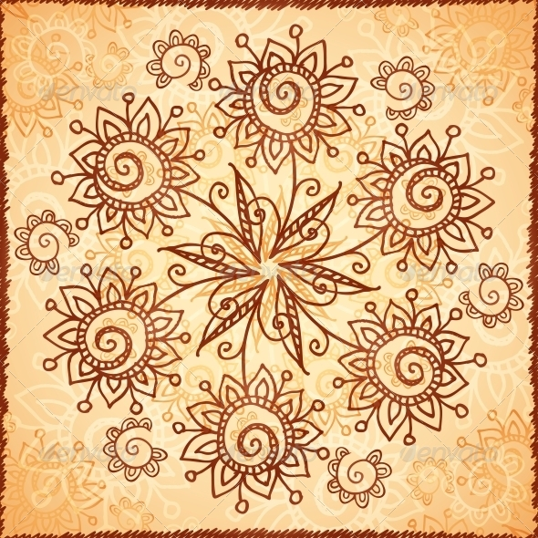 GraphicRiver Ornate Vector Doodle Flowers Background 4630088