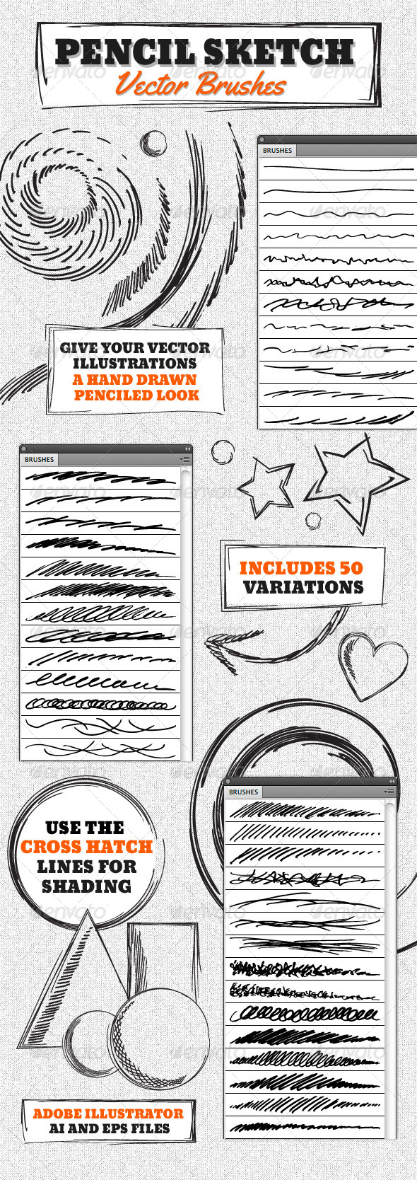 GraphicRiver Vector Pencil Sketch Brushes 4630510
