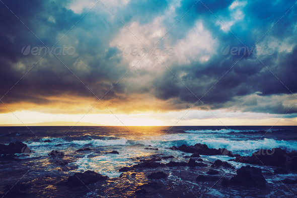 Hawaiian Sunset - Stock Photo - Images
