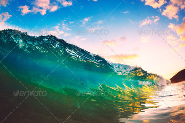 Sunset Wave - Stock Photo - Images