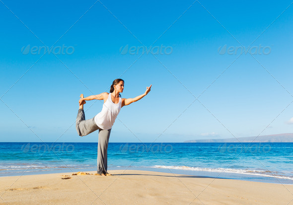 Beach Yoga - Stock Photo - Images