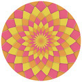 abstract geometric floral pattern in pink yellow orange - PhotoDune Item for Sale