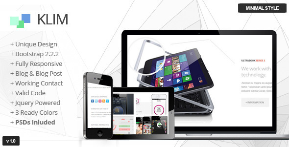 ThemeForest Klim One Page Responsive Template 4630767