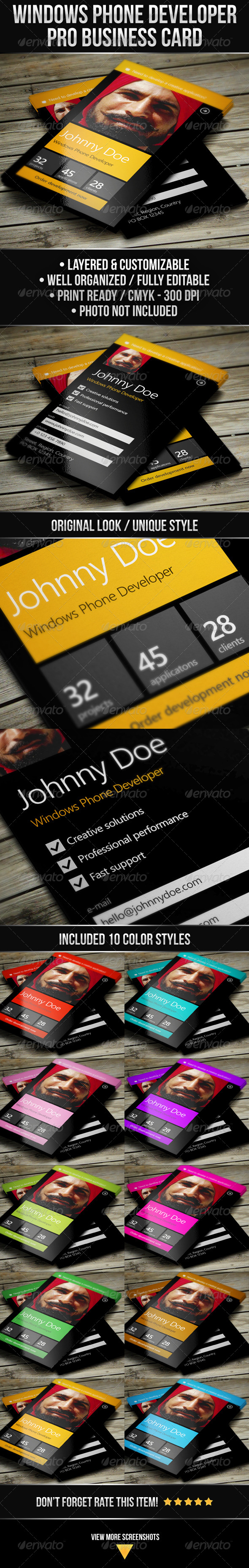 GraphicRiver Windows Phone Developer Business Card 4630859