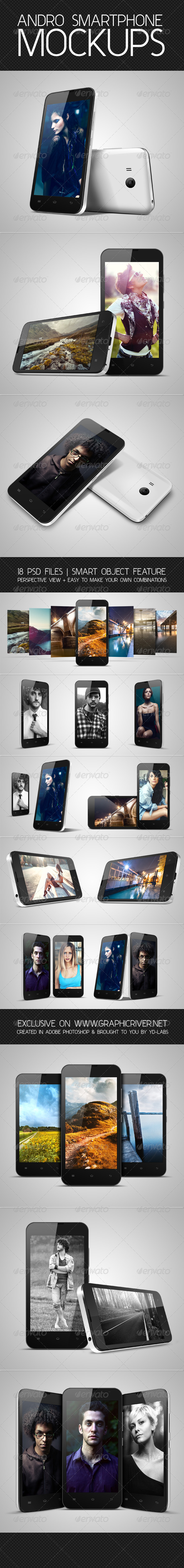 Andro Smartphone Mockups - Mobile Displays
