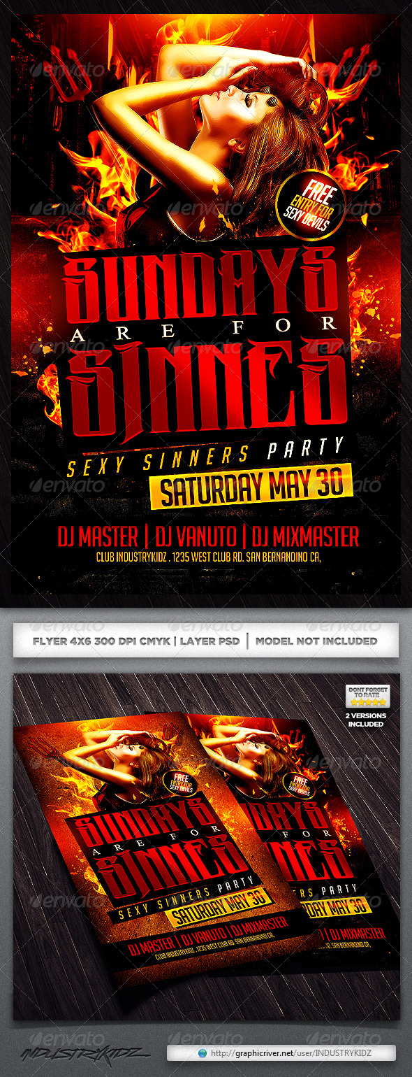 GraphicRiver Sundays are For Sin Flyer Template 4631506