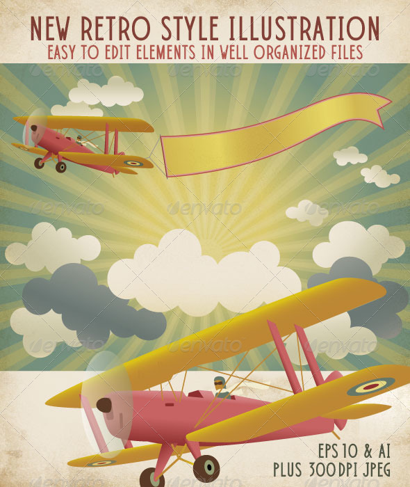 Retro Style Biplane with Banner in a Radiant Sky