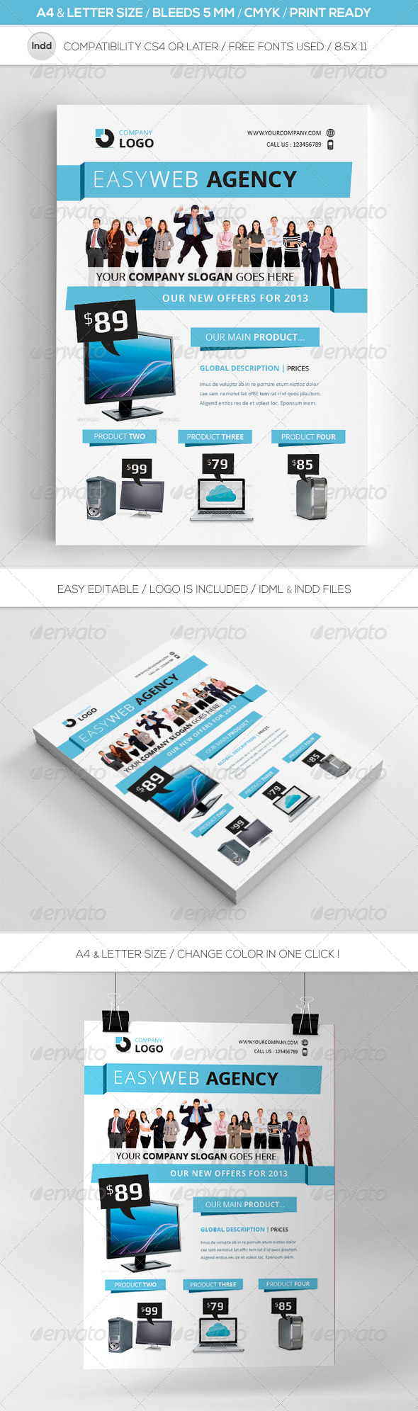 GraphicRiver Clean Indesign Commerce Flyer Template A4 & Letter 4632293