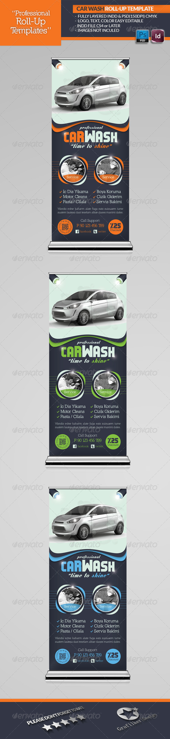 Car Wash Roll-Up Template - Signage Print Templates