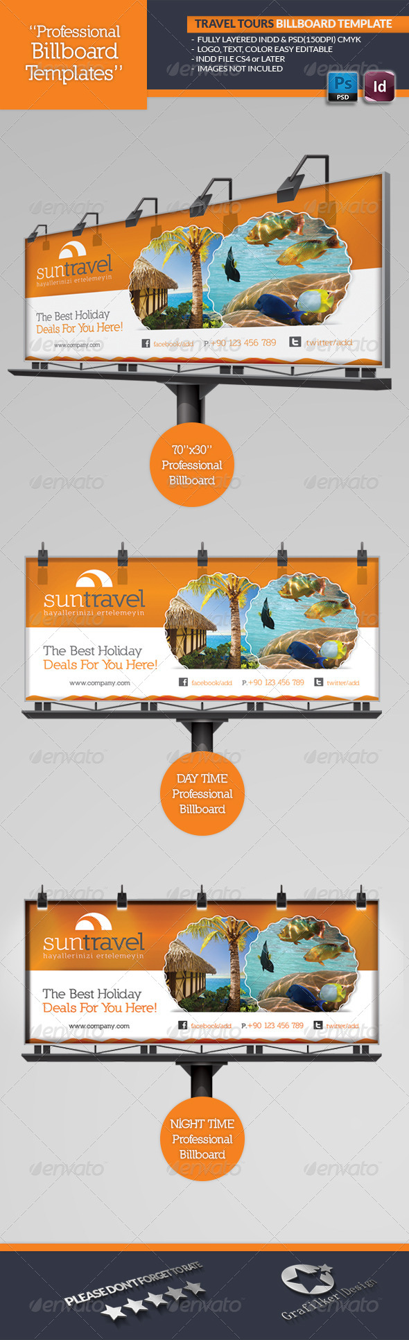 Travel Tours Billboard Template - Signage Print Templates