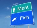 Meat-Fish road sign - PhotoDune Item for Sale