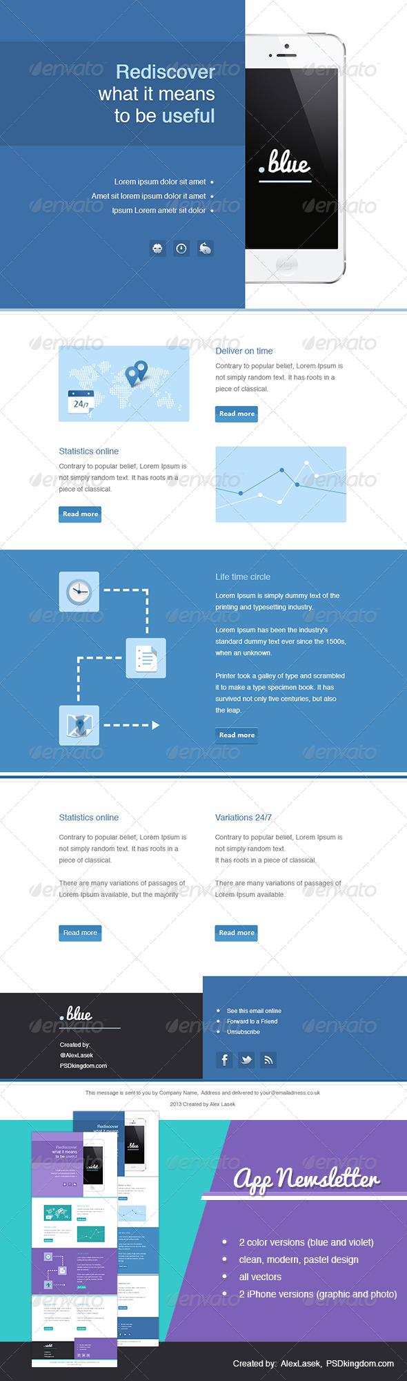 GraphicRiver App eNewsletter Templates Blue & Violet 4616830