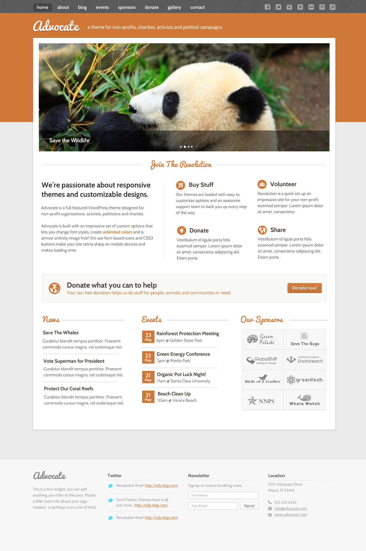 Advocate - A Nonprofit WordPress Theme - Homepage - The homepage features slider that support images and video along with a clean grid layout with areas to clearly display your events, news, and sponsors as well as clear call to action areas making it easy for user to donate to and learn more about your cause.