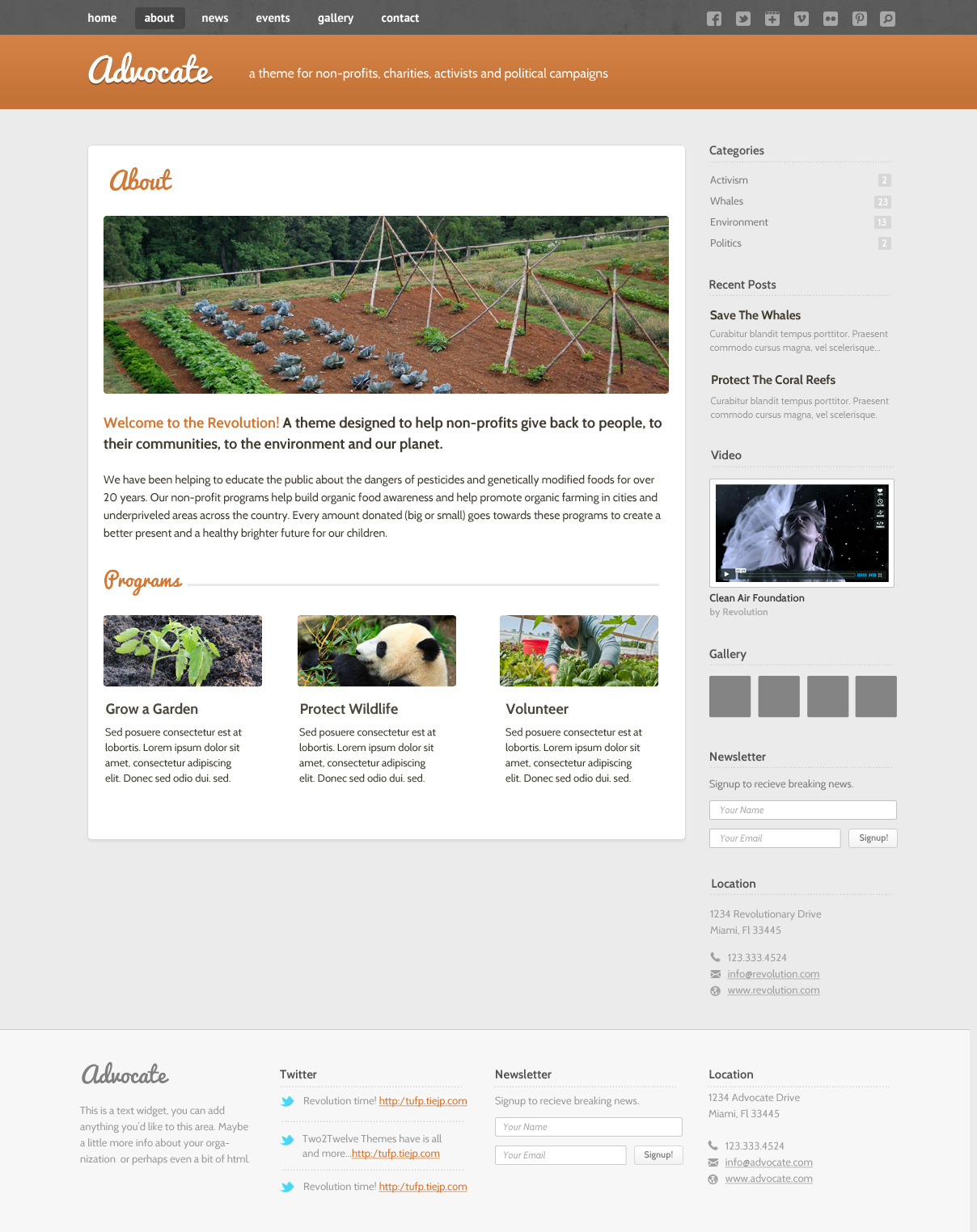 Advocate - A Nonprofit WordPress Theme - About - The About page lets you display information about your cause or campaign as well as details about your programs or the members of your organization.