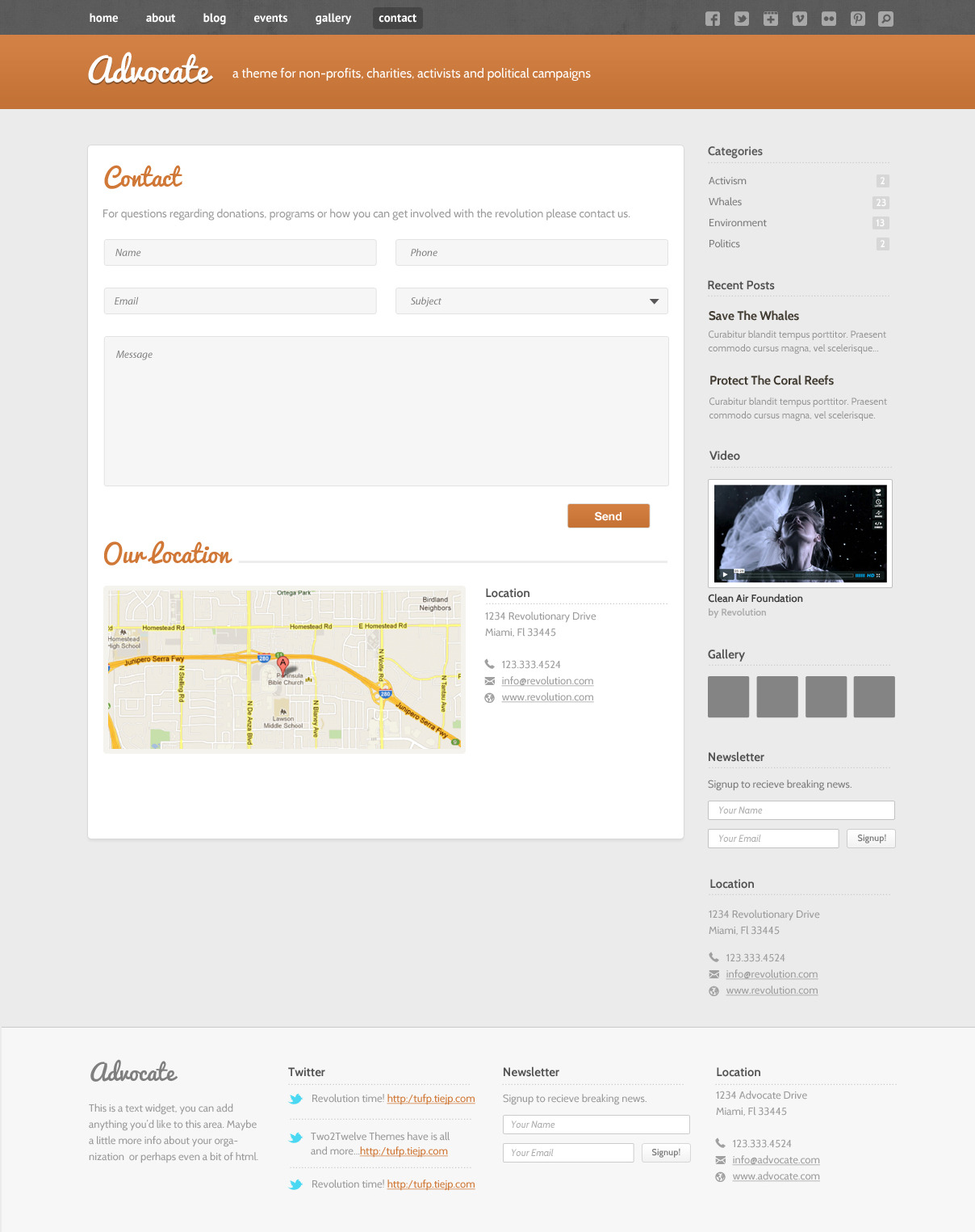 Advocate - A Nonprofit WordPress Theme - Contact Page - Working form with validation