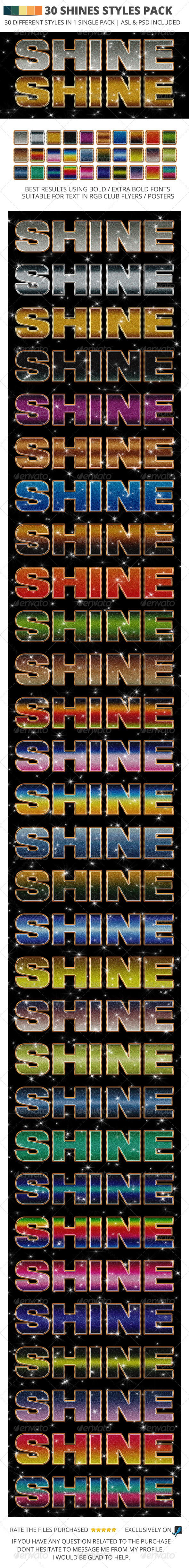 30 Shine Style Pack Photoshop - Text Effects Styles