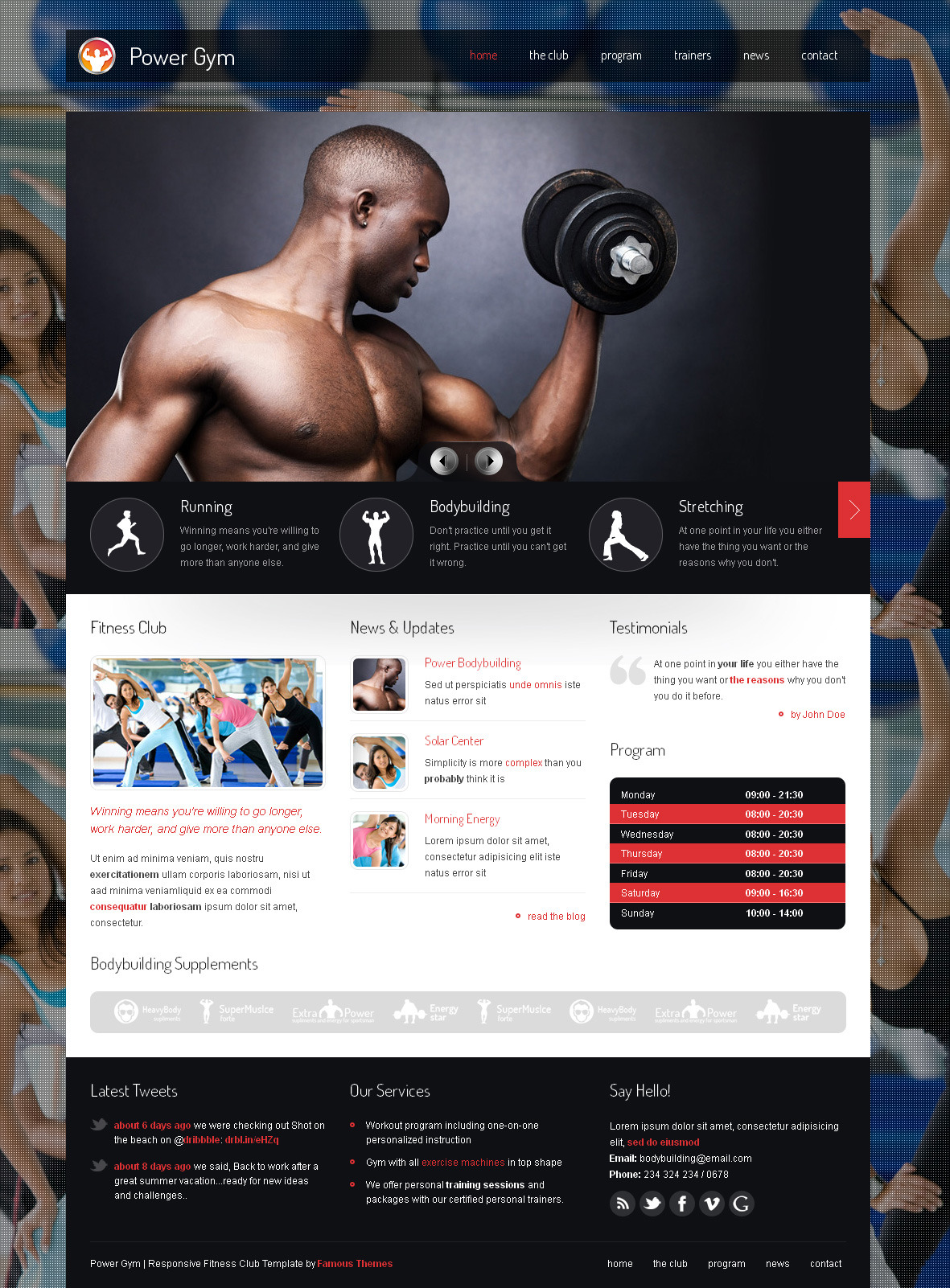 Power Gym - Responsive Wordpress Theme - main page