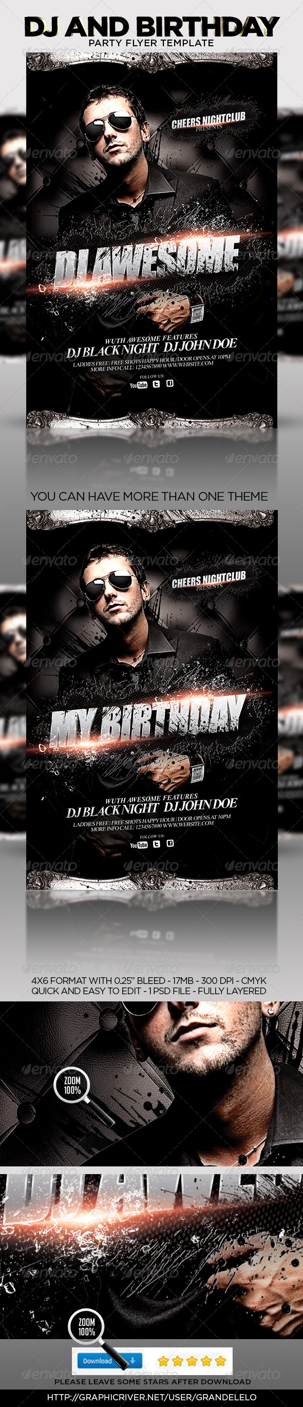 GraphicRiver DJ or Birthday Party Flyer Template 4635185