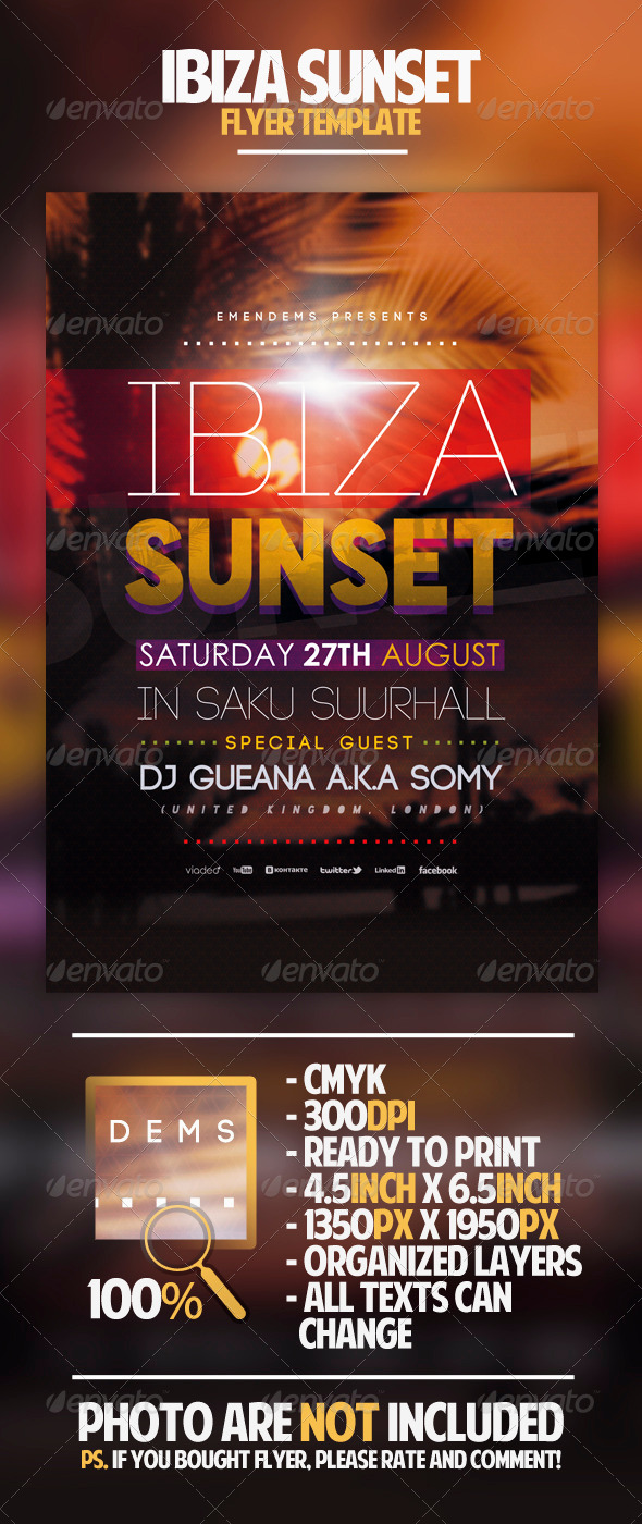 GraphicRiver Ibiza Sunset Flyer Template 4570035