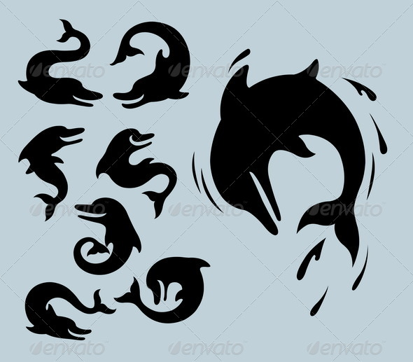 Dolphin Silhouette Symbols - Animals Characters