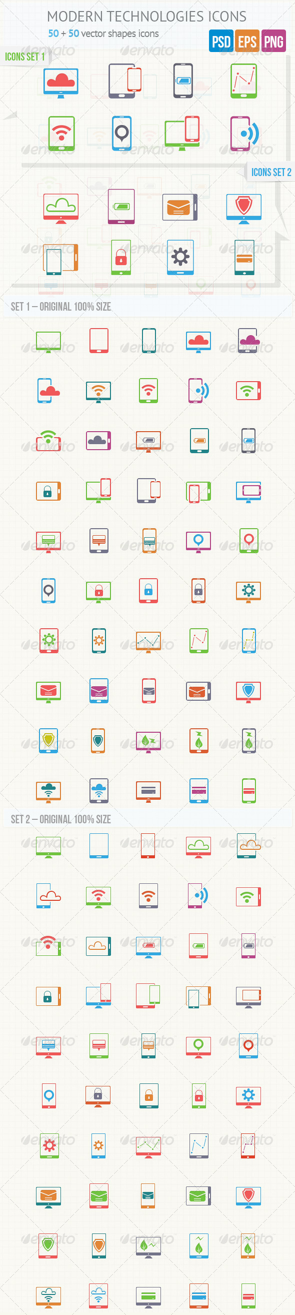 GraphicRiver Modern Technologies Icons 4635339