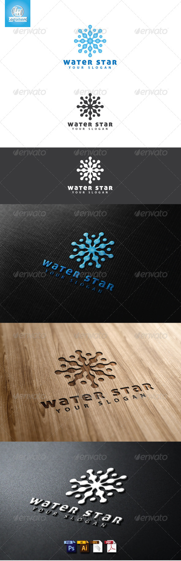 GraphicRiver Water Star Logo Template 4635418
