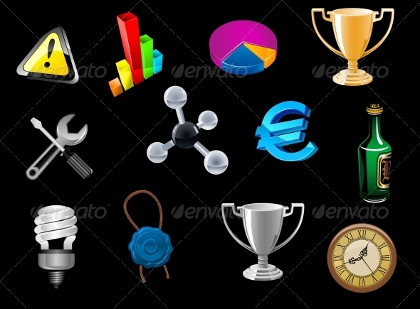 Glossy Icons Set for Web Design - Miscellaneous Vectors