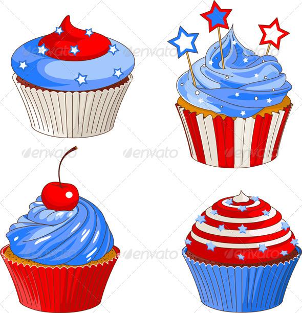 GraphicRiver Patriotic Cupcakes 4636308