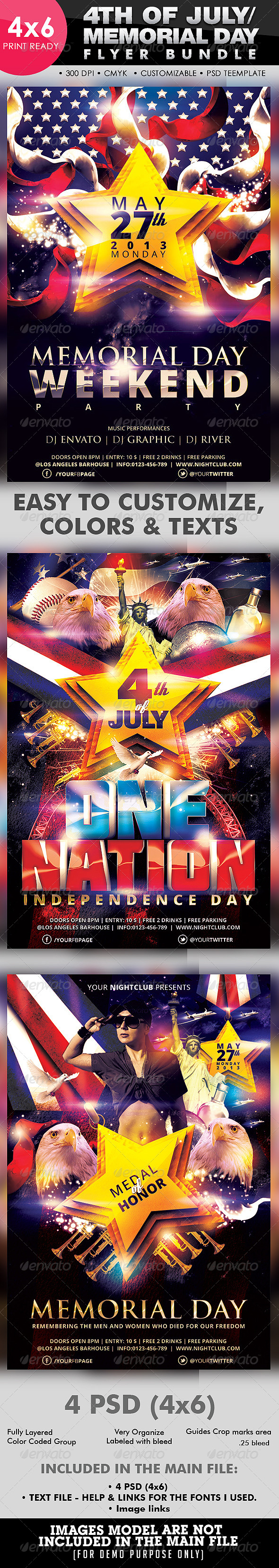 GraphicRiver 4th Of July Memorial Day Flyer Bundle 4636371