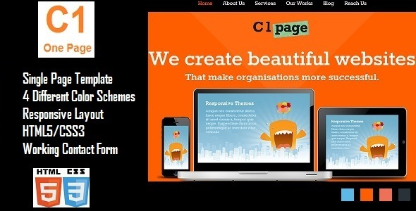 ThemeForest C1 Page Responsive Website Template 4583453