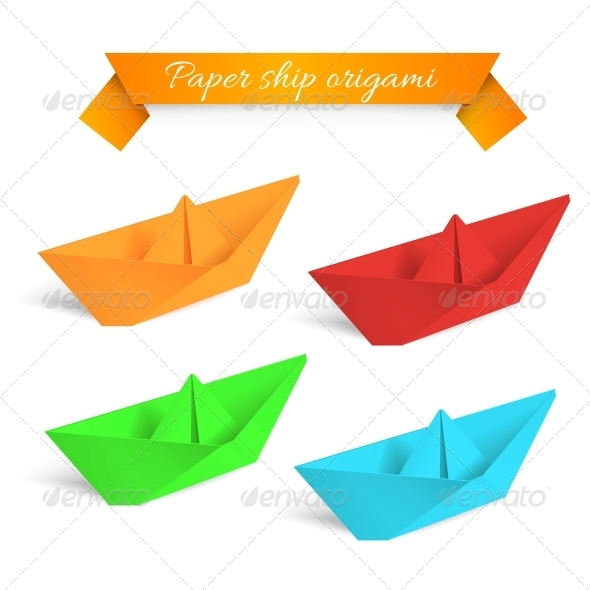 GraphicRiver Four Colorful Paper Origami Ships 4637220