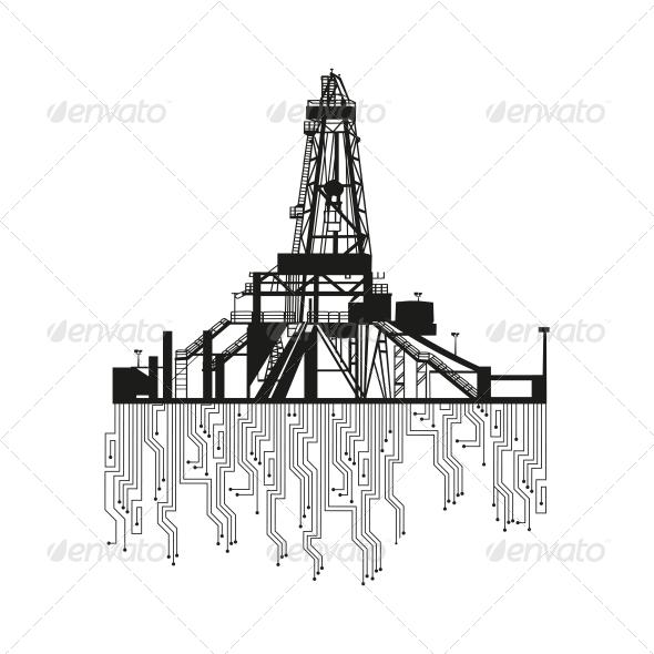 GraphicRiver Oil Rig Silhouette 4637344