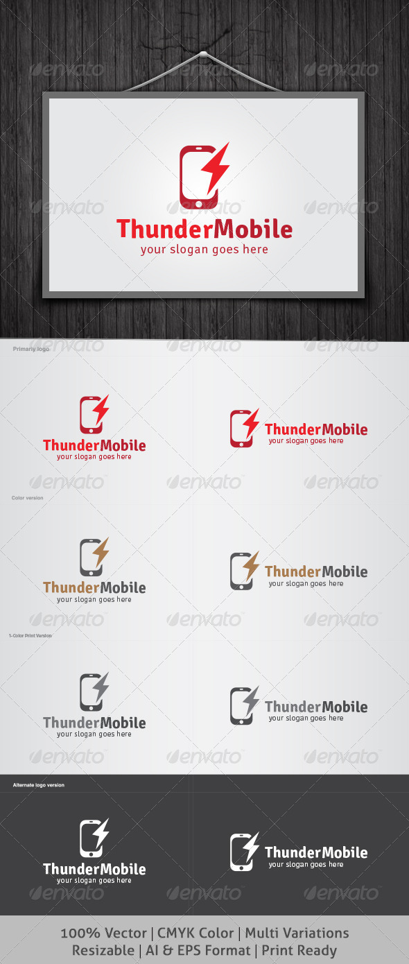 Thunder Mobile Logo - Objects Logo Templates