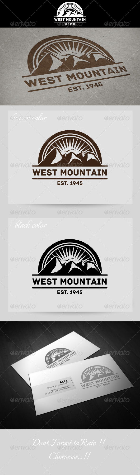 West Mountain Vintage Logo - Nature Logo Templates