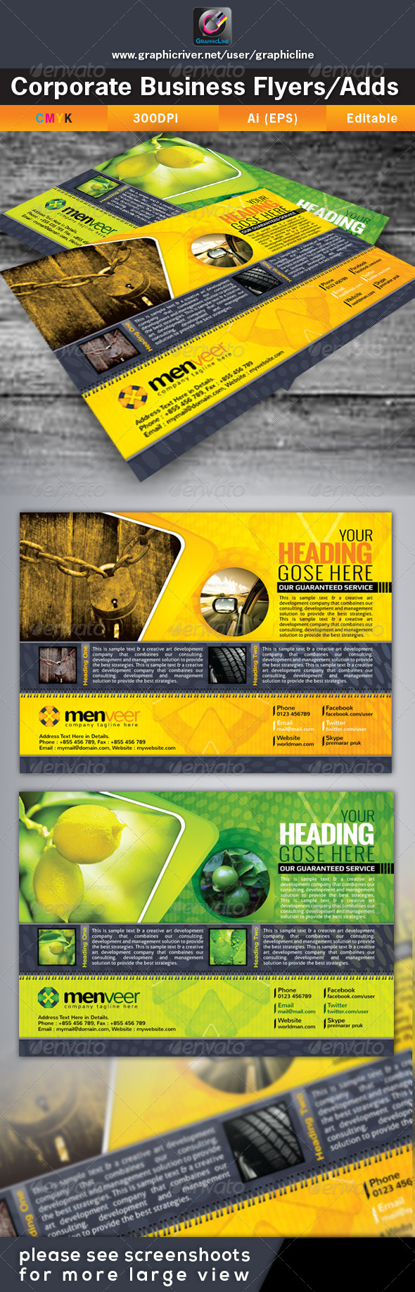 GraphicRiver Menveer Corporate Business Flyers Adds 4639396