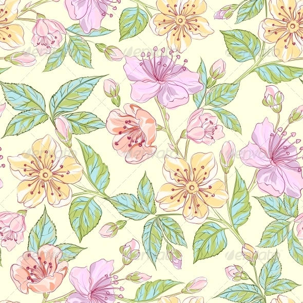 GraphicRiver Seamless Floral Pattern 4639580