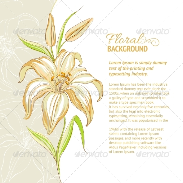 GraphicRiver Lily Flower Background Vector Illustration 4639670