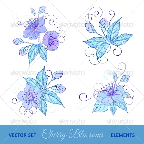 GraphicRiver Set of Cherry Flowers 4640388