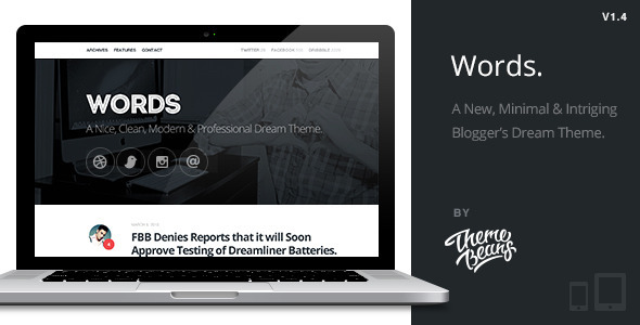 Words | Responsive Premium Blog Theme - Blog / Magazine WordPress