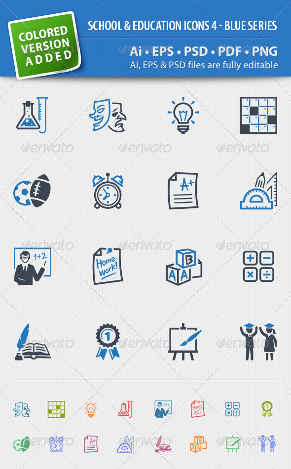 GraphicRiver School and Education Icons Set 4 Blue Series 4640927