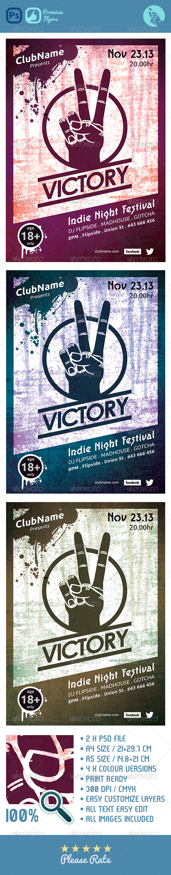 GraphicRiver Victory Indie Night Flyer 4497774