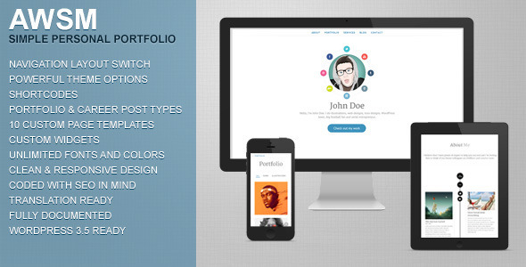 ThemeForest AWSM Simple Personal Portfolio WordPress Theme 4641441