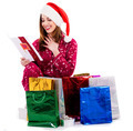 young lady with christmas card and gifts - PhotoDune Item for Sale