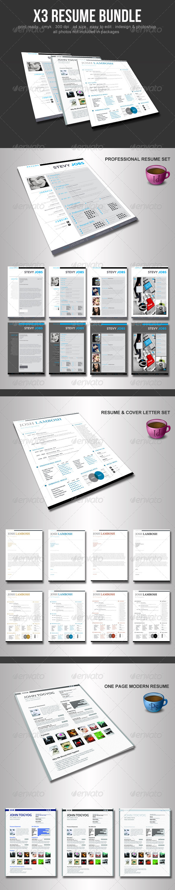 X3 Resume Bundle - Resumes Stationery